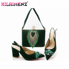 Classics Style Shoes and Bag Sets Green Color Italian Shoes with Matching Bags High Quality Women Shoes and Bag To Match