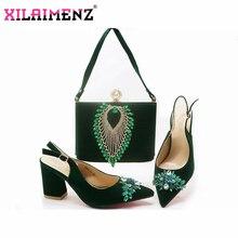 Klasik Tarzı Ayakkabı ve Çanta Setleri Yeşil Renk Eşleşen Çanta ile İtalyan Ayakkabı Yüksek Kaliteli Kadın Ayakkabı ve Çanta maç