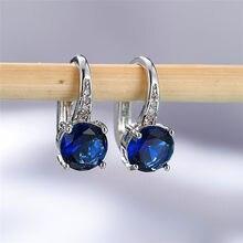 Śliczne kobiece kryształowe cyrkonie kolczyki z kamieniem Dainty srebrne klipsy dla kobiet niebieskie białe fioletowe okrągłe kolczyki