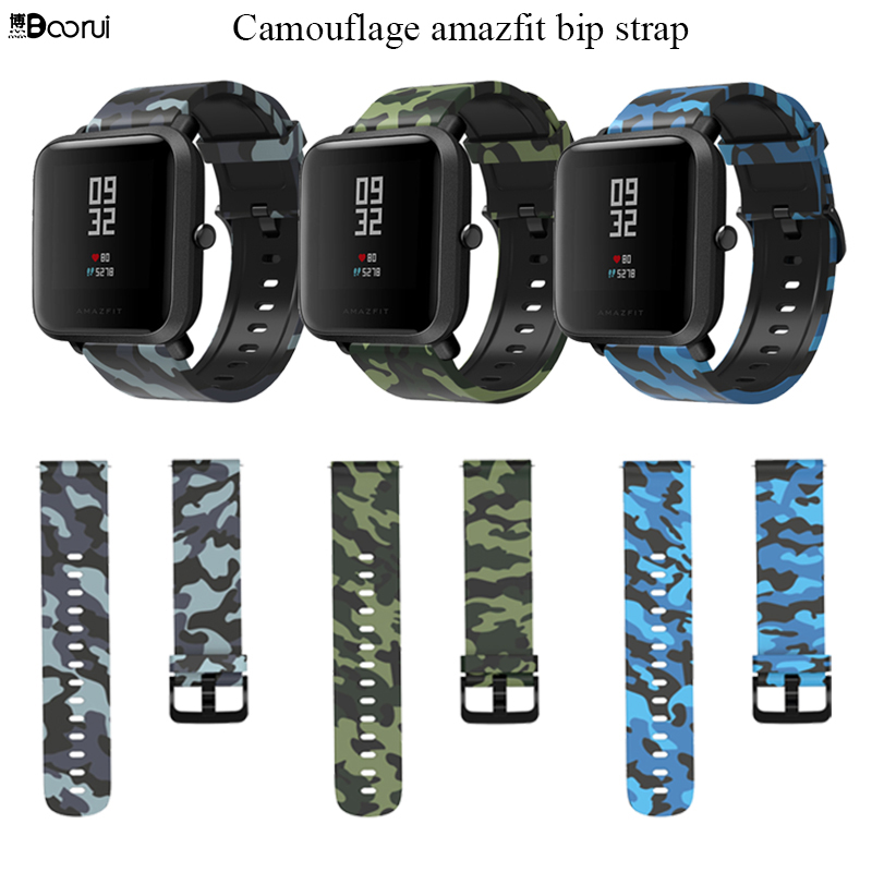BOORUI Amazfit Bip Strap 20mm Watch Band Camouflage Silicone Varied Flowers Print 20mm  Wrist Strap For Xiaomi Huami Amazfit