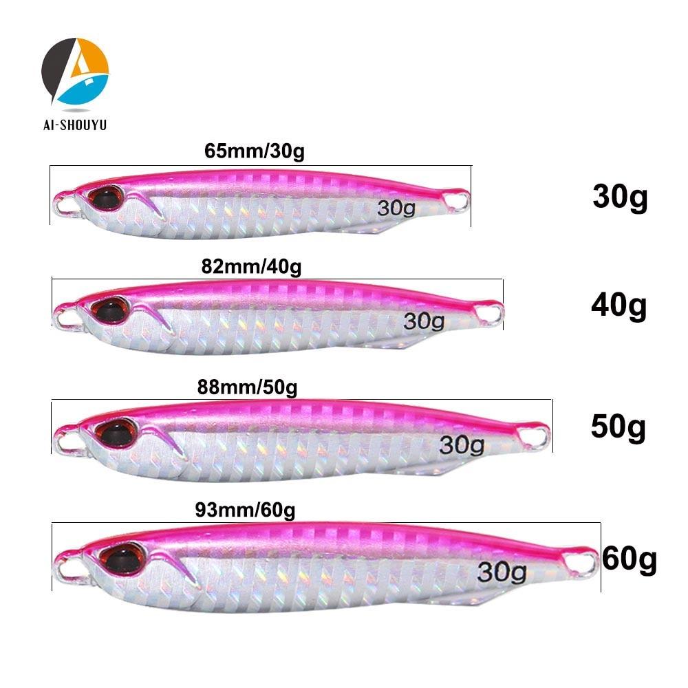 Isca de chumbo lenta para água salgada, peixe mole de metal para pesca profunda do mar, 30g/40g/50g/60g, novo, AI-SHOUYU iluminação de isca larga marítima