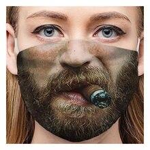 Máscara de poeira de algodão dos desenhos animados expressão dentes muffle chanyeol rosto respirador anti à prova de vento máscara boca outono mascarillas #50g