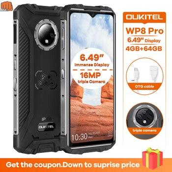 Перейти на Алиэкспресс и купить Новый OUKITEL WP8 Pro 4 Гб 64 Гб NFC IP68 прочный спортивный телефон 6,49 ''отпечаток пальца Android 10 5000 мАч 16MP Тройная камера смартфон