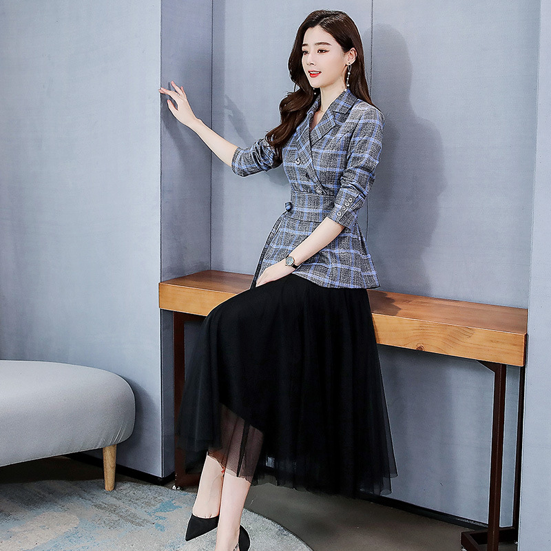 Spring And Autumn 2020 New Style Korean-style Business Suit Women's Slimming Pattern Small Suit Mesh Dress Western Style Goddess