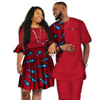 Summer African Couple Matching Clothing Set Men Fashion Shirt Print Top Pants Bazin Riche Women Retro Party Dress Ankara Outfits