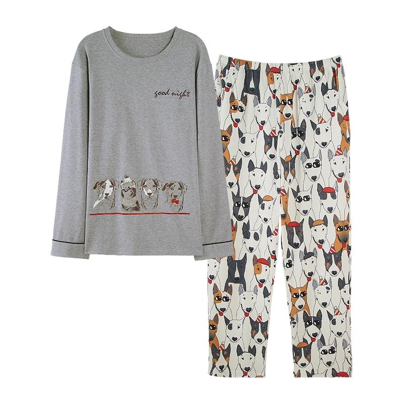 New Sleepwear Homesuit Homeclothes Fashion Style Gray Top Dog Printing Mens Pyjama Pajama Set Long Sleeve Long Pants Pj Set