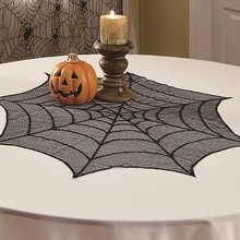 Halloween DIY Cobweb Shape Tablecloth Mini Table Topper Holiday Decoration Black Lace