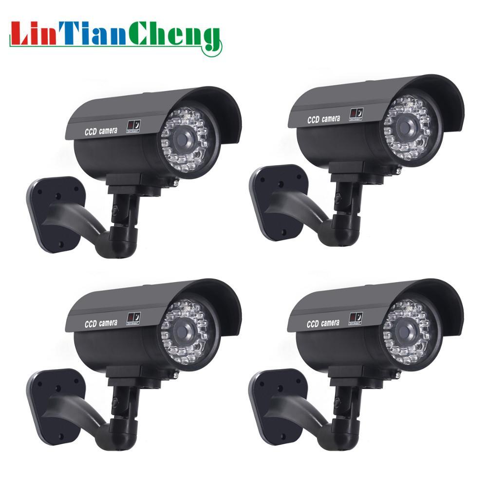 4 pièces factice CCTV caméra balle étanche en plein air sécurité Surveillance de rue maison fausse caméra avec lumière LED livraison gratuite