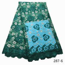 Fashion Green African Lace Fabric High Quality Nigerian Lace Fabrics Latest French Tulle Mesh Bride Lace Fabric With Stones 287