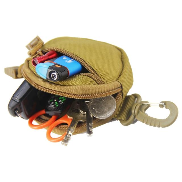 porte monnaie tactique militaire pour clés, Mini porte-monnaie, poche pour pièces de monnaie de l'armée avec crochet, sac de ceinture 5