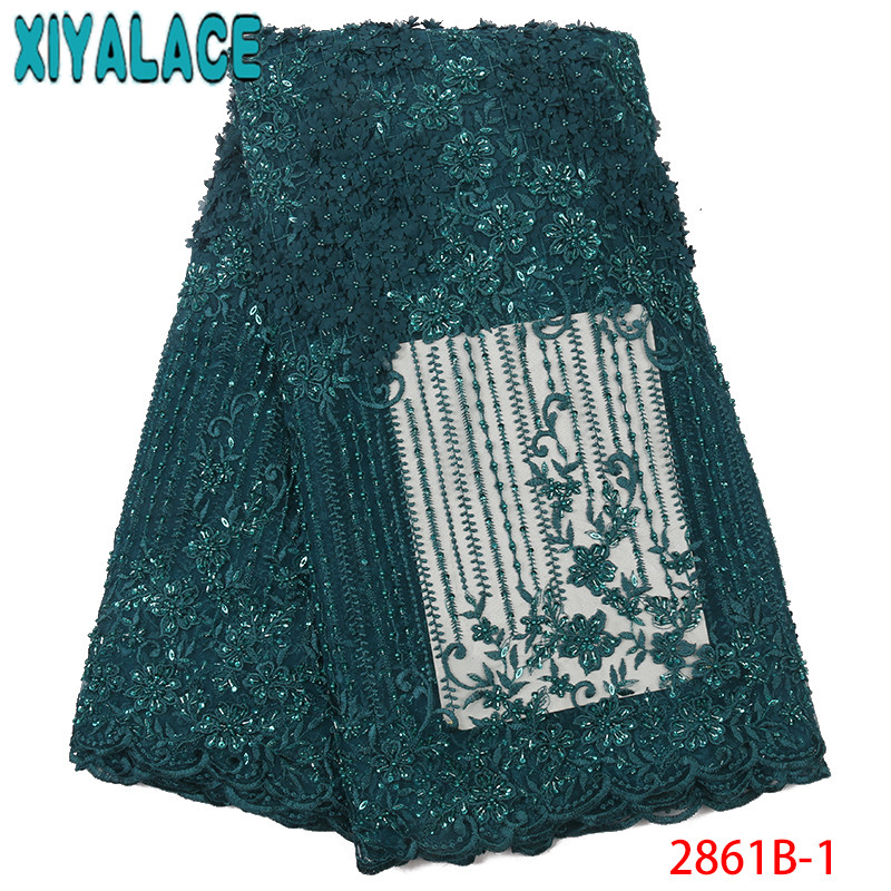 High Quality Beaded Lace Fabric 3D Handmade Beads Tulle Lace Latest African Laces For Wedding Dresses KS2861B