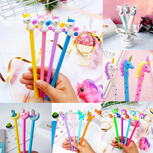 1pc Unicorn Gel Pen Kawaii Silicone Head Black Ink Signature Student Office School Supplies Cartoon Stationery