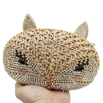Double Flower Cartoon Female Fox Women Crystal Clutch Evening Minaudiere Bags Ladies Cocktail Party Purses and Handbags