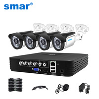 Smar 4CH 1080N 5 in 1 AHD DVR Kit CCTV System 4&2PCS 720P/1080P IR AHD Camera Waterproof/Dome Option Security Surveillance Set