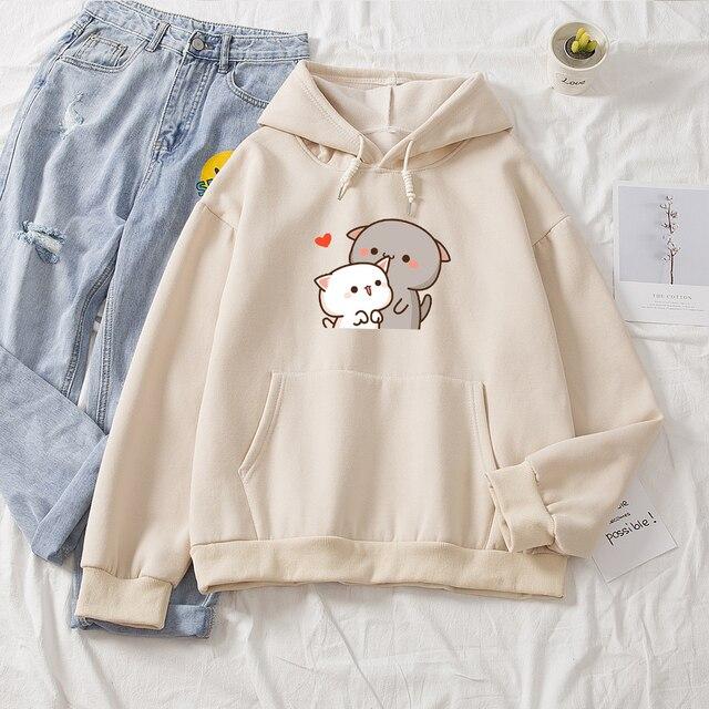 Women Hoodie Kawaii Couple Sweatshirt Cotton Long-sleeved Harajuku Hoodies Pocket Pattern Print Hoody Plus Size Korean Clothes 3