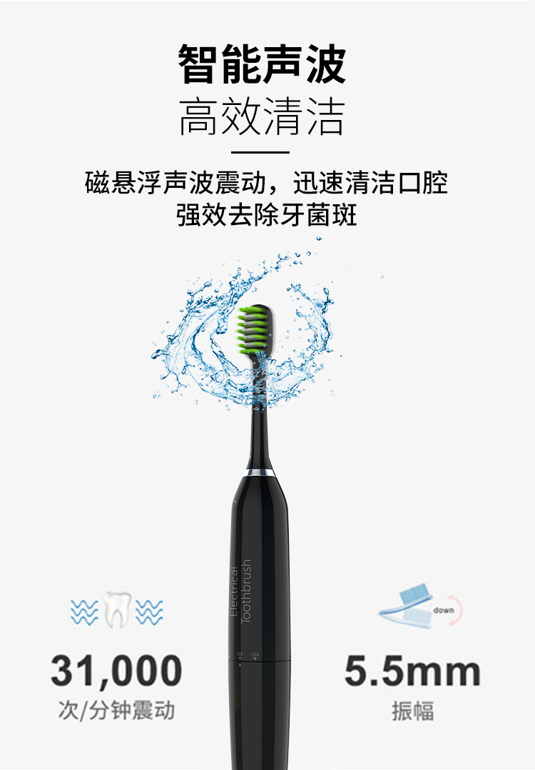 Electric toothbrush USB rechargeable adult waterproof ultrasonic automatic mode