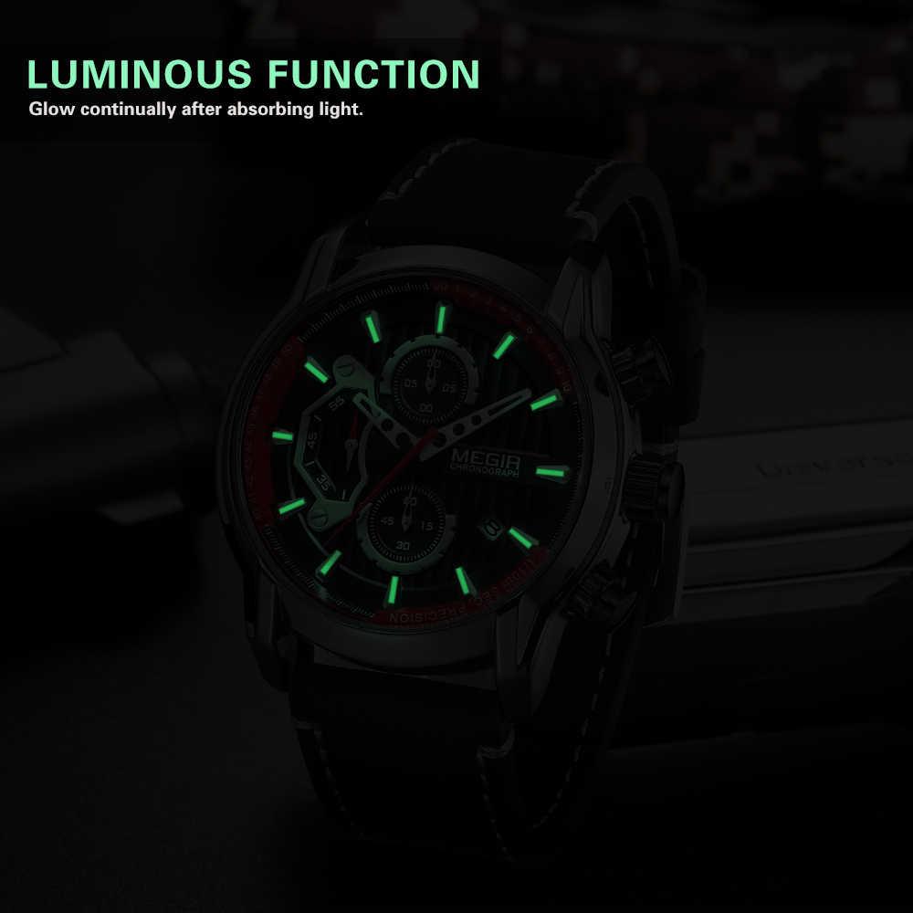 MEGIR nouvelle mode hommes montres étanche lumineux sport montre-bracelet homme cuir chronographe Quartz montre-bracelet Reloj Hombre