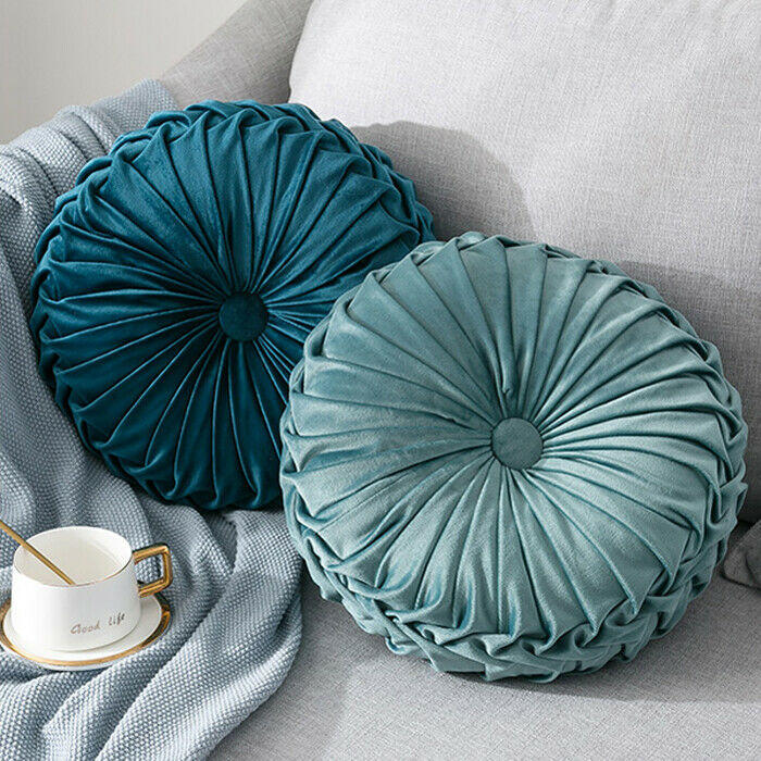 Newest-Home-Textile-Velvet-Pleated-Round-Solid-Color-Cushion-Pouf-Throw-Home-Soft-Cushion