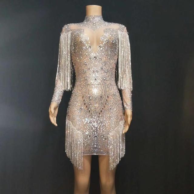 Nouveaux cristaux scintillants chaînes maille Perspective robe robes de soirée soirée anniversaire célébrer robe chanteur Performance