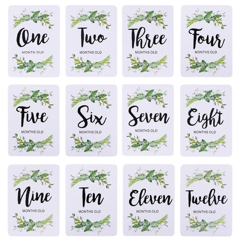 12pcs Plants Printed Newborn Baby Monthly Stickers Pregnant Women 1-12 Month Milestone Memory Photograph Props