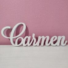 Ustom-signo de nombre personalizado para guardería, letras de gran tamaño, nombre del bebé, placa pintada, decoración de pared de madera