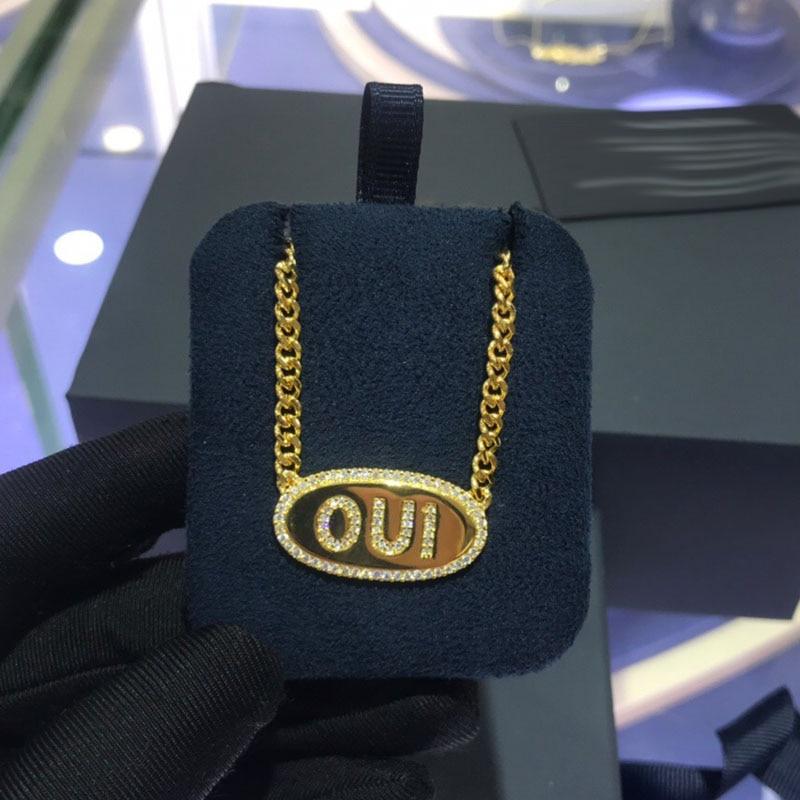 UMGODLY Luxury Brand Letters OUI AMOUR Chain Necklace CZ Zircon Stones Women Fashion Fashion Jewelry