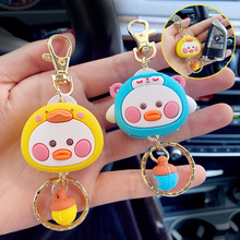 Hot Sell Cute Silicone Yellow Duck Ropes Keychain Cartoon Duck Couples Women Bag Car Keyring Pendant Accessory Charm Toy Gifts