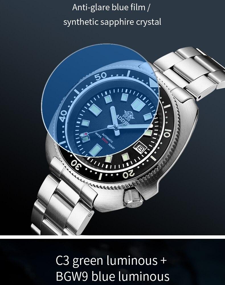 H7f4760186fa84997a72d45b23908bb8dj 1970 Abalone 200m Diver Watch Sapphire crystal calendar NH35 Automatic Mechanical Steel diving Men's watch
