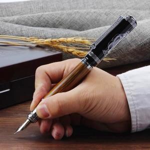 Image 5 - Duke Classic Confuciusไม้ไผ่ธรรมชาติโลหะนูนรูปแบบBent Nib FountainปากกาIridium 1.2 มม.สำหรับสำนักงาน/ของขวัญ