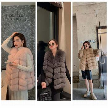 Thomas Tina high quanlity genuine real fox fur gilet new fashion women natural fur sleeveless vest waistcoat outwear overcoat цена 2017