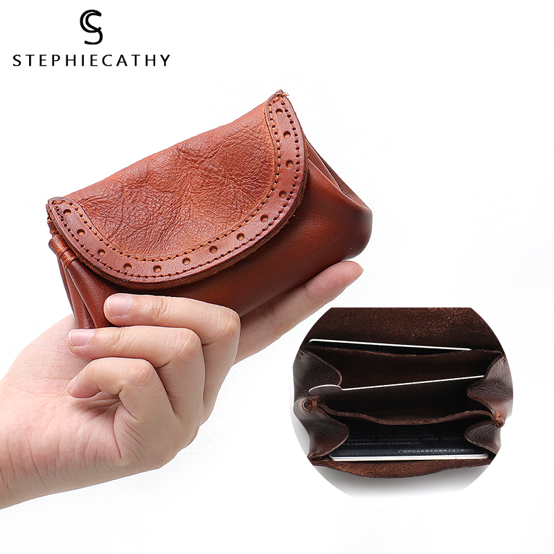 SC Genuine Leather Small Wallet For Women Vintage Real Leather Mini Bag Short Wallet Femal Coin Purse Handbag Flap Card Holders