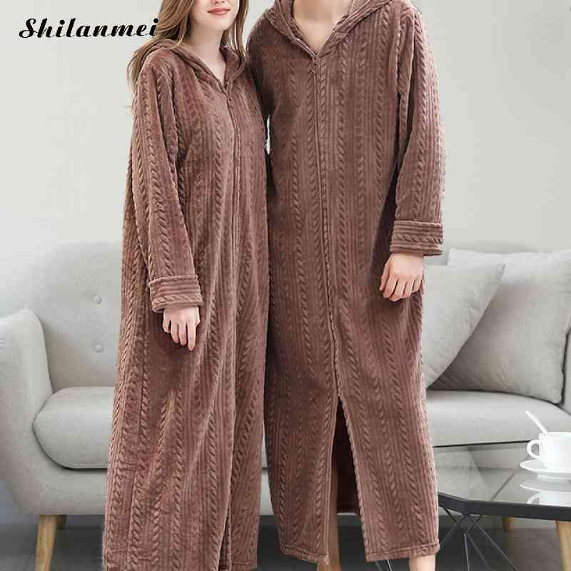 2019 Winter Zipper Hooded Flannel Robe His-And-Hers Long Robe Fashion Solid Thick Couples Robes Winter Women'S Mens Bath Robe