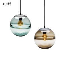 Lampes suspendues globe en verre bleu design italien postmoderne pour villa chambre café magasin lampe mode luminaire led suspendu