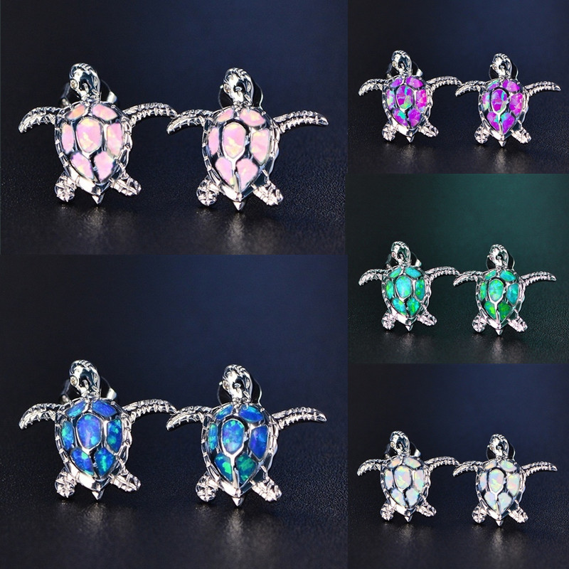 Cute Sea Turtle Blue Imitation Fire Opal Stud Earrings For Women Accessories Fashion Jewelry Wedding Party Birthday Girl Gift
