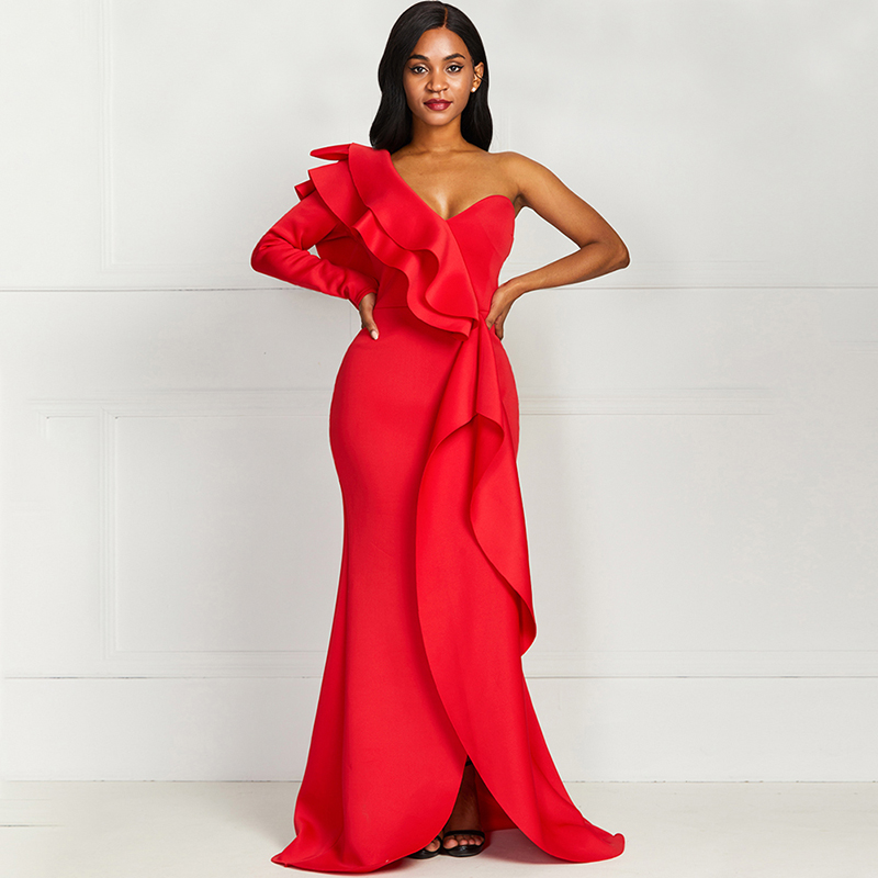 African Elegant Party Sexy Vintage Women Long Dresses Plus Size Backless One Shoulder Strapless Split Ruffles Female Maxi Dress