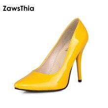ZawsThia zapatos de charol de piel sintética con tacón alto para mujer, calzado de oficina con tacones finos de aguja, color amarillo y verde, talla grande 46 47 48