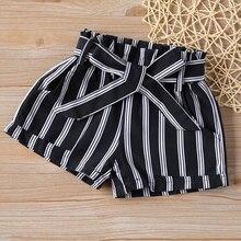 Girls Shorts Summer New Girls Short Pants Black And White Stripes + Belt Baby Girl Pants Short Cotton Girl Shorts For Kids jilly children girls clothing black and white stripes summer girl dress 100