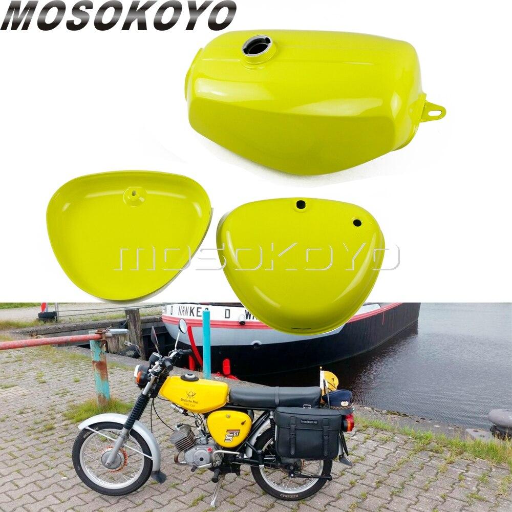 3 pièces réservoir de carburant de gaz d'huile de moto avec couvercle latéral gauche et droit pour Simson S50 S51 S70 (200200)