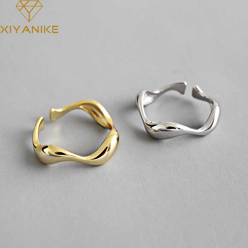 XIYANIKE 925 ayar gümüş yaratıcı el yapımı yüzükler düzensiz dalga pürüzsüz nişan takı kadınlar için boyutu 16.5mm ayarlanabilir