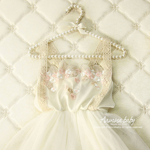 Retail 3318 Golden Flower Lace Princess Party Toddler A-line Kid Dresses For Girl Summer White Beige Cotton Tutu Baby Girl Dress(China)