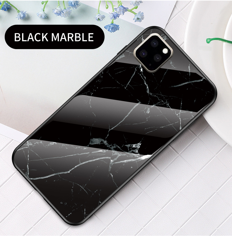KEYSION Marble Tempered Glass Case for iPhone 11/11 Pro/11 Pro Max 14