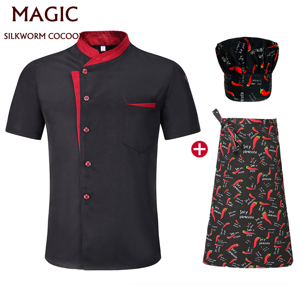 New Men And Women Cook Jacket Short Sleeved Restaurant Chef Uniform Chef Coat Cook Clothes Summer Spring Kitchen Hotel Uniform