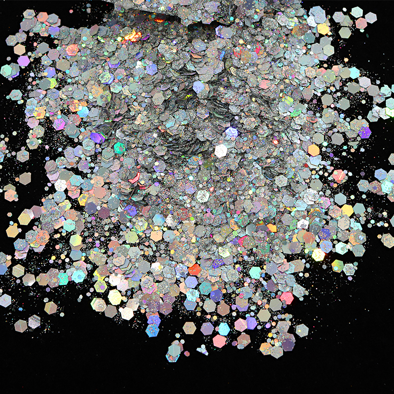 50 г полимерные наполнители смешанные шестигранные голографические крупные блестки Розовые золотые серебряные блестки для смолы художеств...