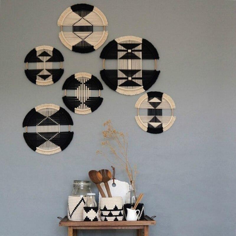 Креативный макраме настенный хлопковый тканый Круглый Гобелен комбинированный настенный гобелен для ресторана подголовник Бохо Декор