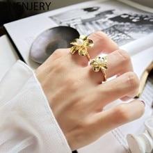 ANENJERY 925 Sterling Silber Gold Farbe Blume Perle Öffnung Ring Für Frauen Fashion Party Schmuck Geschenke Großhandel S-R804