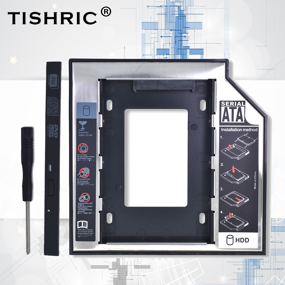 Tishric Universal Plastic Aluminum With Panel 9.5mm SATA 3.0 HDD Caddy Hard Disk Enclosure Adapter DVD HDD For Laptop Optibay