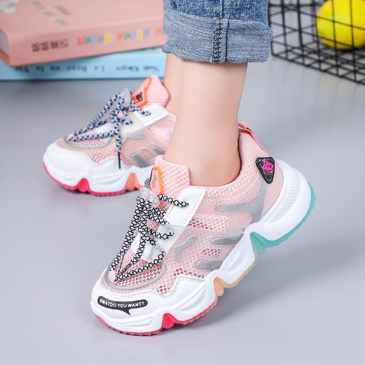 2020 Summer Rainbow Kids Sport Shoes For Girls Sneakers Students Breathable Mesh Children Shoes Boys Sneakers Light Kid Shoes