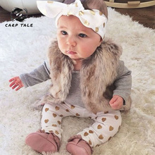3pcs Brand New Autumn Baby Girl Clothes Set Cotton T-shirt+pants+Headband Infant Newborn Clothing Sets