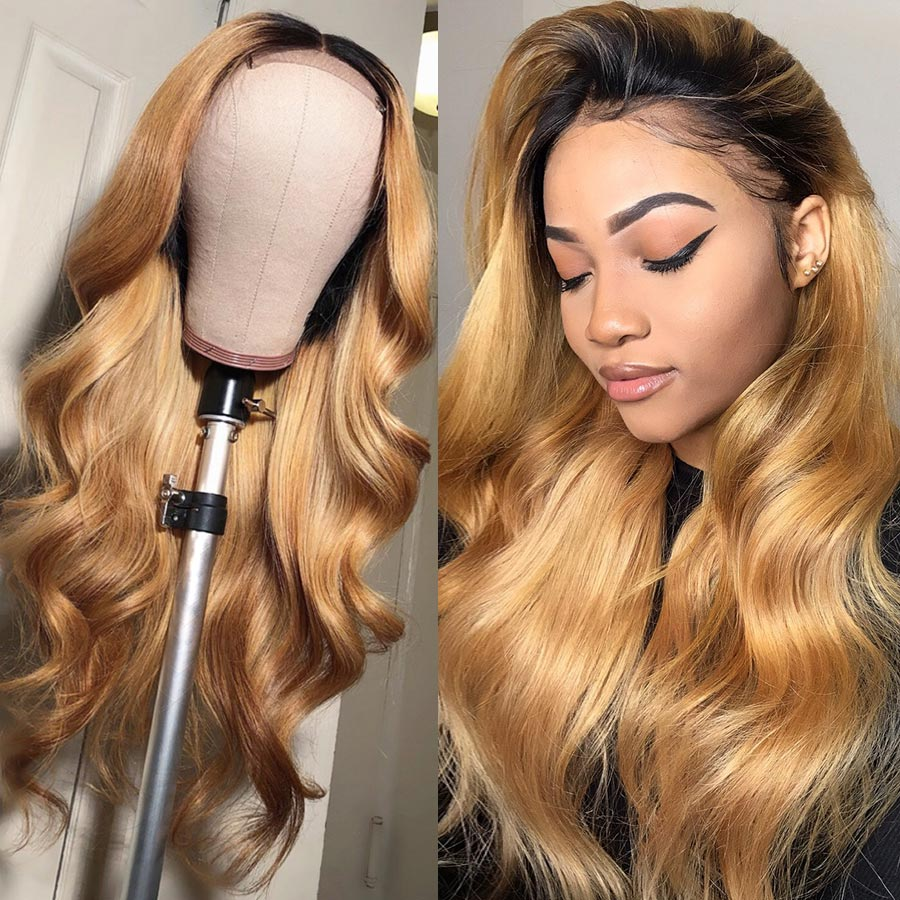 Beeos 1B/27 Ombre Honey Blonde Body Wave Deep Part Color Lace Front Human Hair Wigs High Ratio 150% 13*6 Brazilian Remy Wig