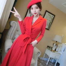 Women Red Dress Elegant Double Breasted Sashes Female Vestidos  Wear t